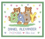 Teddy Bear Birth Announcement Cross Stitch Kit Janlynn