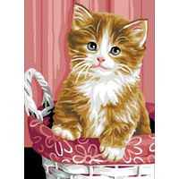 Kitten in Basket Tapestry Canvas By Royal Pairs