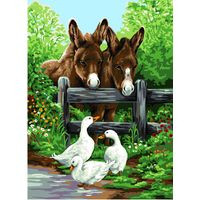 Donkey and Geese Tapestry Canvas By Royal Paris