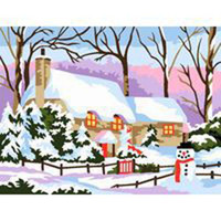 Snow Cottage Tapestry Canvas By Royal Paris