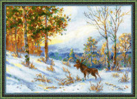 Elk in a Winter Forest Cross Stitch Kit by Riolis