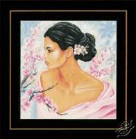 Lady with Blossom Cross Stitch Kit by Lanarte