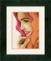 Woman with Scarf Cross Stitch Kit by Lanarte