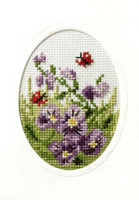 Pansies and Butterflies Cross Stitch Card kit By Orchidea