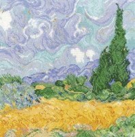 Vincent Van Gogh A Wheatfield with Cypresses Cross Stitch Kit by DMC