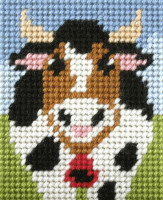 My First Embroidery Needlepoint Kit Alphine Cow By Orchidea