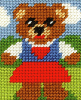 My First Embroidery Needlepoint Kit Girl Bear By Orchidea