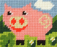 My First Embroidery Needlepoint Kit Pig By Orchidea