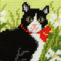My First Embroidery Needlepoint Kit Black and white Cat By Orchidea