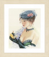 Counted Cross Stitch Kit: Lady With Lipstick (Linen) By Lanarte