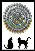 Zenbroidery - Cat Mandala Cotton Fabric
