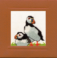 Puffin Miniature Card Cross Stitch Kit by Textile Heritage