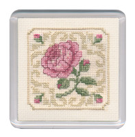 Damask Rose Coaster Cross Stitch Kit by Textile Heritage