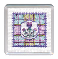 Tartan Thistles Coaster Cross Stitch Kit by Textile Heritage
