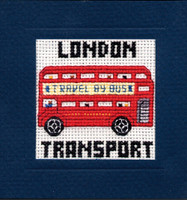 London Bus Miniature Card Cross Stitch Kit by Textile Heritage