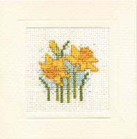 Daffodils Miniature Card Cross Stitch Kit by Textile Heritage