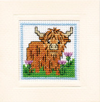 Wee Highland Coo Miniature Card Cross Stitch Kit by Textile Heritage