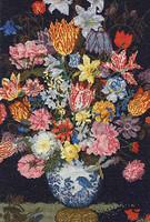 Bosschaert A Still Life of Flowers in a Wan-Li Vase Cross Stitch Kit By DMC