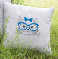 Cat with Blue Glasses  Embroidery Cushion Kit By Vervaco