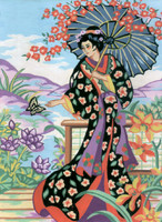 Geisha with Parasol Canvas only By Grafitec