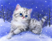 Kitten in the Snow Canvas only By Grafitec