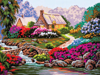 Garden by Old Stone Bridge Canvas only By Grafitec