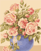 Roses in a Blue Vase Canvas only By Grafitec