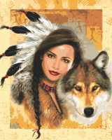 Indian Maiden with Wolf Canvas only By Grafitec