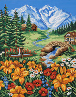 Spring in the Mountains Canvas only By Grafitec