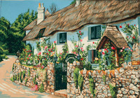 Thatched Cottage Canvas only By Grafitec