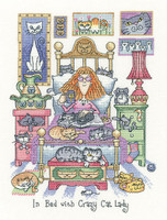 In Bed With crazy Cat Lady Cross Stitch Kit By Heritage