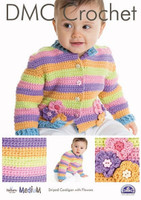 Striped Cardigan with Flowers  Crochet Pattern by DMC