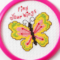 Find Your Wings Butterfly - Beginner Cross Stitch Kit By Bucilla