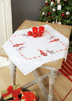 Christmas Elves Tablecloth Emboidery Kit By Vervaco