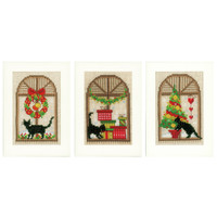 Christmas Atmosphere (Set of 3) Card Cross Stitch Kit By Vervaco