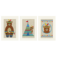 Lief! Indian Bear (Set of 3) Counted Cross Stitch Card Kits By Vervaco