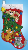 Decorating Kittens Stocking Felt Kit by Design Works