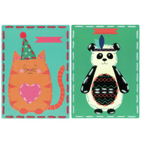 Cat and Panda Cards (Set of 2) Embroidery Kit By Vervaco