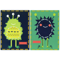 Space Monsters (Set of 2) Cards Embroidery Kit By Vervaco