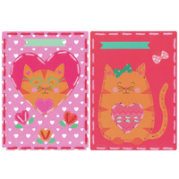 Cat with Hearts (Set of 2)  Embroidery Kit By Vervaco