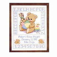 Bear Birth Sampler Stamped Cross Stitch By Janlynn