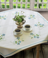Blue Flowers Tablecloth Cross Stitch Kit By Anchor
