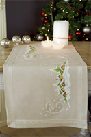 Village in the Snow Embroidery Table Runner Kit By Vervaco