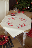 Christmas Elves Embroidery: Tablecloth Kit By Vervaco