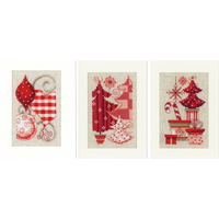 Cross Stitch Kit: Christmas Motif Cards, Set of 3 By Vervaco