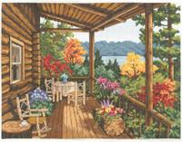 Log Cabin Porch  Cross Stitch Kit by Janlynn