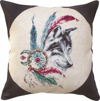 Native Wolf Pillow  Cross Stitch Kit By Luca S