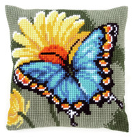 Butterfly & Yellow Flower  Chunky Cross Stitch Cushion Kit By Vervaco