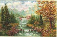 Mountain waterfall Cross Stitch Kit by Alisa