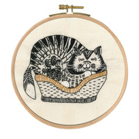 Sebastian Sleeping Printed Embroidery Kit With Hoop By DMC